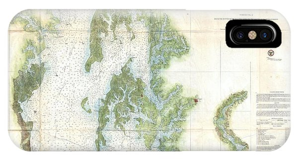iPhone Case - Coast Survey Chart Or Map Of The Chesapeake Bay by Paul Fearn