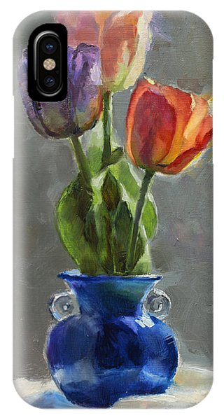 Cobalt Blue iPhone Case - Cobalt And Tulips Still Life Painting by Karen Whitworth