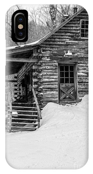Porches iPhone Case - Slayton Pasture Cobber Cabin Trapp Family Lodge Stowe Vermont by Edward Fielding