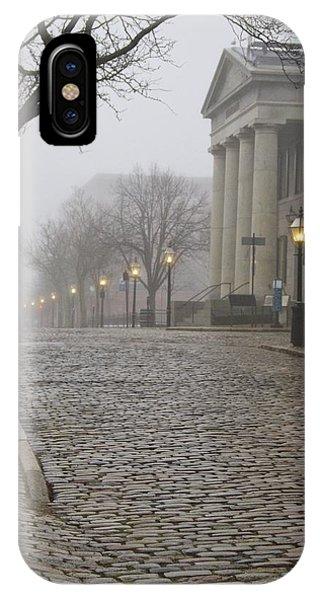 Cobblestone Street In Fog IPhone Case