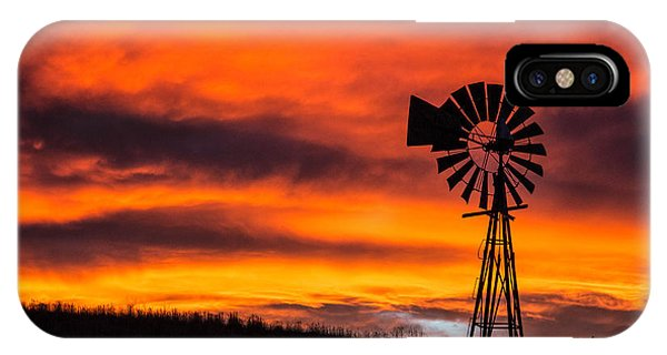 Cobblestone Windmill At Sunset IPhone Case