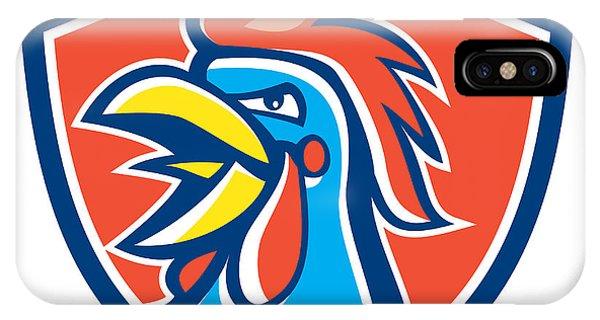 Gamecocks iPhone Case - Cockerel Rooster Crowing Head Shield by Aloysius Patrimonio