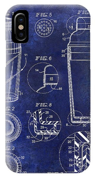 Shaker iPhone Case - Cocktail Shaker Patent Drawing Blue by Jon Neidert