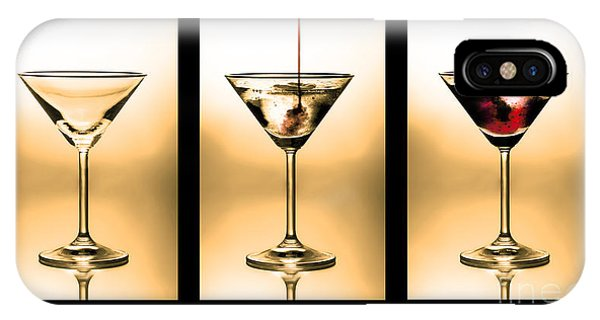 Cocktail Triptych In Gold IPhone Case