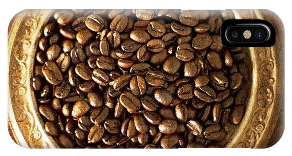 Coffee Beans On Antique Silver Platter IPhone Case