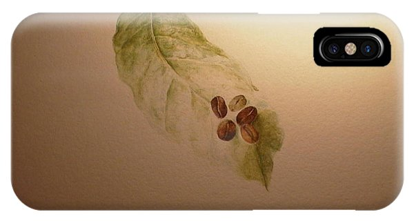 Coffee Beans On Coffea Arabica Leaf IPhone Case