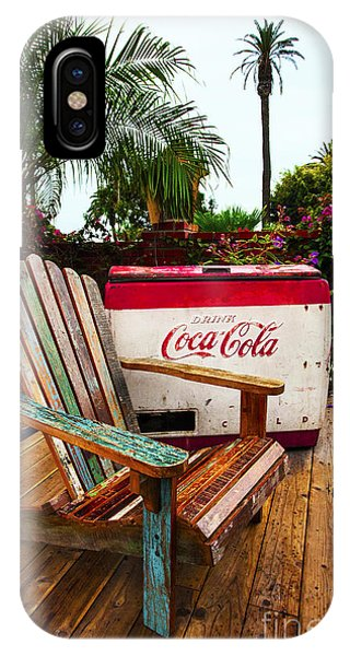 Vintage Coke Machine With Adirondack Chair IPhone Case