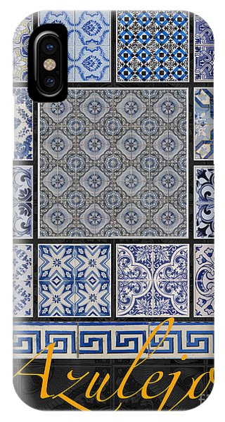 Collection Of Blue Colored Portuguese Tile-works IPhone Case