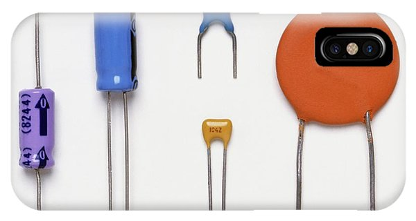 Electrical Component iPhone Case - Collection Of Capacitors by Dorling Kindersley/uig