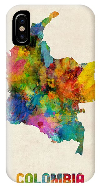 Colombia Watercolor Map Phone Case by Michael Tompsett