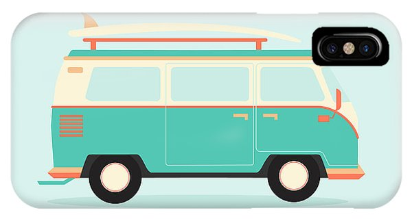 Fun iPhone Case - Color Full Surfer Van. Transportation by Guaxinim