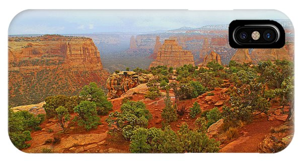 Colorado Natl Monument Snow Coming Down The Canyon IPhone Case