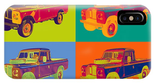 Colorful 1971 Land Rover Pick Up Truck Pop Art IPhone Case
