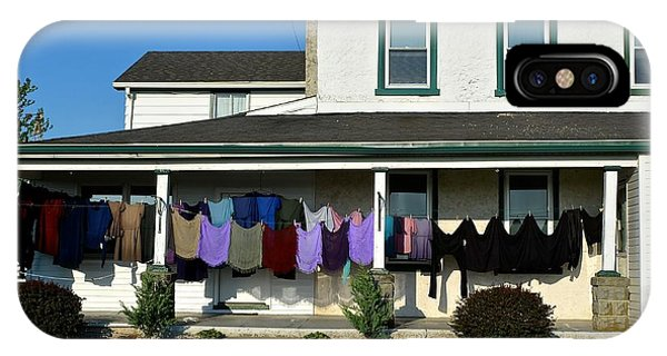 Colorful Amish Laundry On Porch IPhone Case