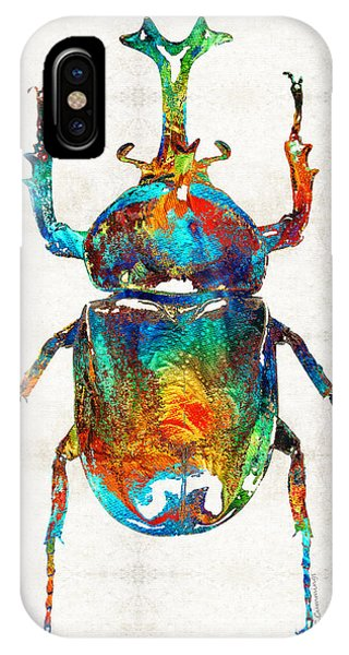Colorful Beetle Art - Scarab Beauty - By Sharon Cummings IPhone Case