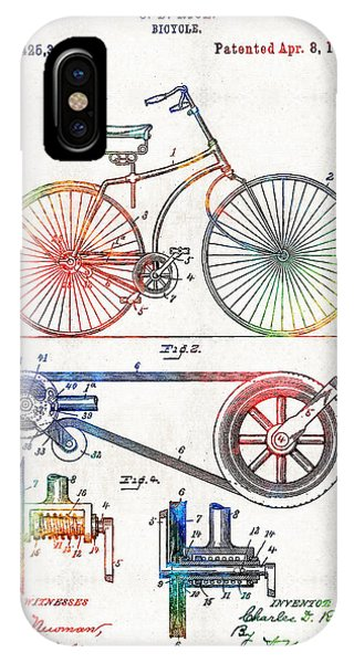 Bicycle iPhone X Case - Colorful Bike Art - Vintage Patent - By Sharon Cummings by Sharon Cummings