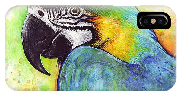 Bird Watercolor iPhone Case - Macaw Watercolor by Olga Shvartsur