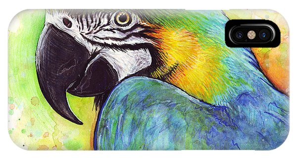 Macaw iPhone Case - Macaw Watercolor by Olga Shvartsur