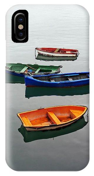 colorful boats on Santurtzi IPhone Case