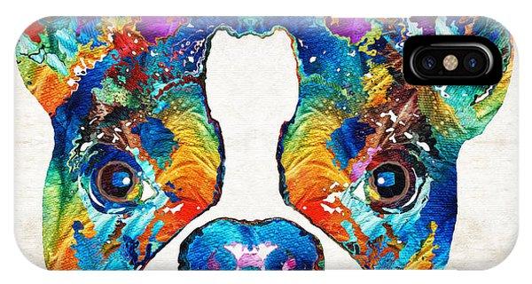 Colorful Boston Terrier Dog Pop Art - Sharon Cummings IPhone Case