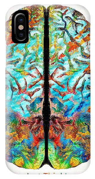 Colorful Brain Art - Just Think - By Sharon Cummings IPhone Case