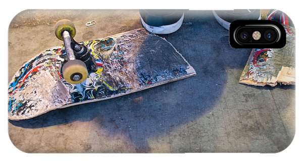 Colorful Busted Skateboard With Shoes  IPhone Case