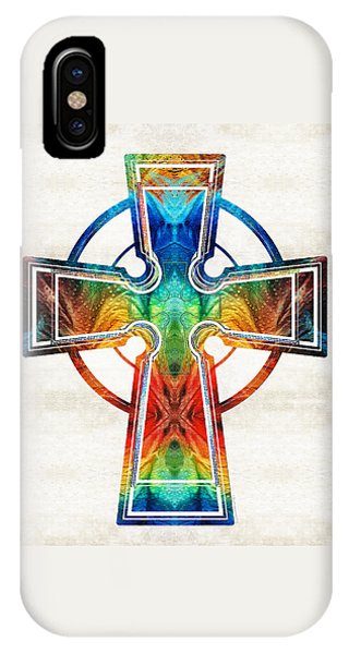 Celtics iPhone Case - Colorful Celtic Cross By Sharon Cummings by Sharon Cummings