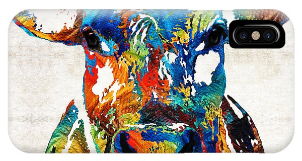 Decor iPhone Case - Colorful Cow Art - Mootown - By Sharon Cummings by Sharon Cummings
