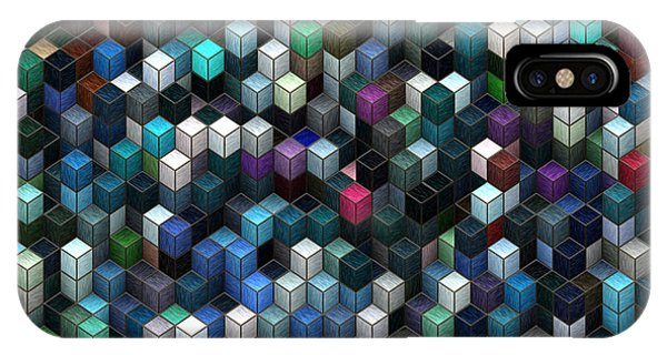 Visual Illusion iPhone Case - Colorful Cubes by Jack Zulli