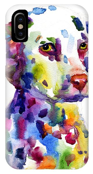 Colorful Dalmatian Puppy Dog Portrait Art IPhone Case