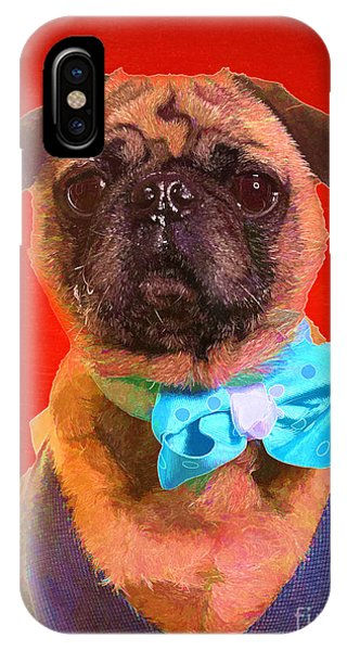 Pug iPhone X Case - Colorful Dapper Pug by Edward Fielding