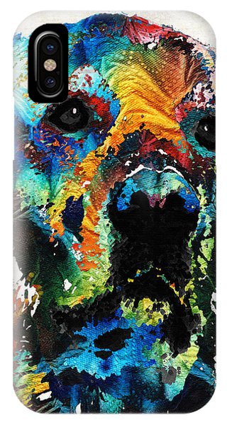 Primary Colors iPhone Case - Colorful Dog Art - Heart And Soul - By Sharon Cummings by Sharon Cummings
