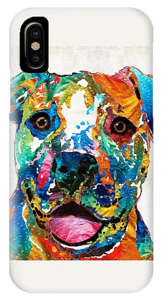 Bull Art iPhone Case - Colorful Dog Pit Bull Art - Happy - By Sharon Cummings by Sharon Cummings