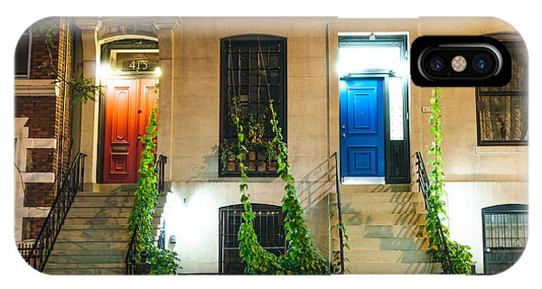 Brownstone iPhone Case - Colorful Doors At Night - New York City by Vivienne Gucwa