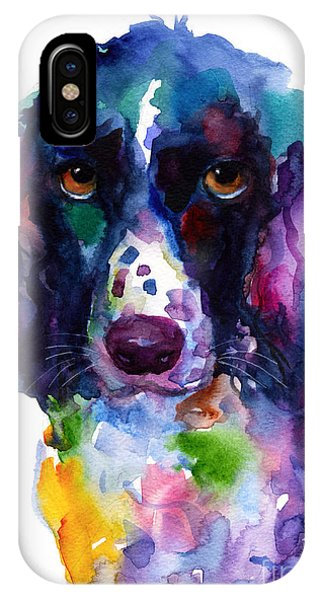 Colorful English Springer Setter Spaniel Dog Portrait Art IPhone Case