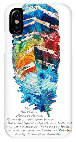 Native iPhone Case - Colorful Feather Art - Cherokee Blessing - By Sharon Cummings by Sharon Cummings