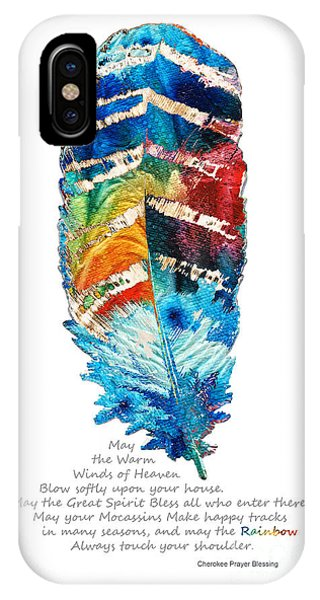Colorful iPhone Case - Colorful Feather Art - Cherokee Blessing - By Sharon Cummings by Sharon Cummings