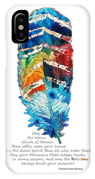 Colorful Feather Art - Cherokee Blessing - By Sharon Cummings IPhone Case