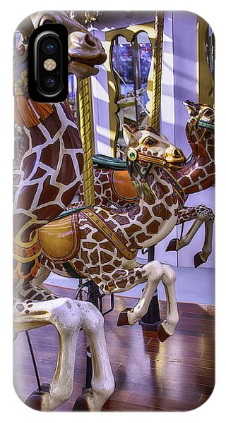 Carousel iPhone Case - Colorful Giraffes Carrousel by Garry Gay