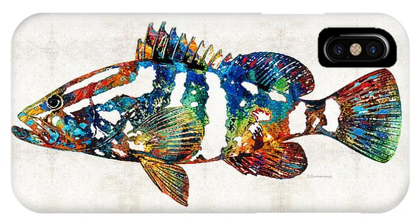 Scuba Diving iPhone Case - Colorful Grouper 2 Art Fish By Sharon Cummings by Sharon Cummings