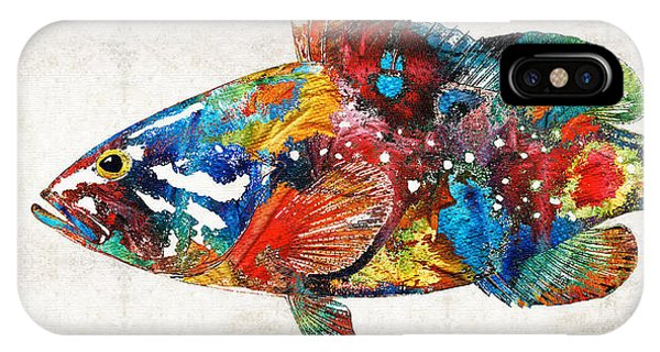 Scuba Diving iPhone Case - Colorful Grouper Art Fish By Sharon Cummings by Sharon Cummings