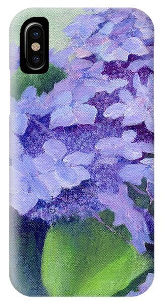 Colorful Hydrangeas Original Purple Floral Art Painting Garden Flower Floral Artist K. Joann Russell IPhone Case
