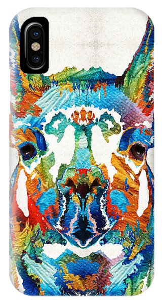Colorful Llama Art - The Prince - By Sharon Cummings IPhone Case