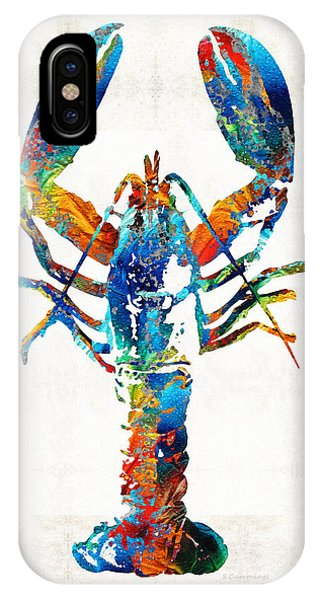 Decor iPhone Case - Colorful Lobster Art By Sharon Cummings by Sharon Cummings