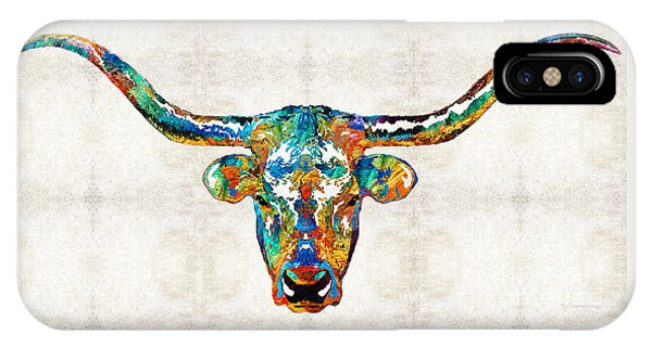 Bull Art iPhone Case - Colorful Longhorn Art By Sharon Cummings by Sharon Cummings