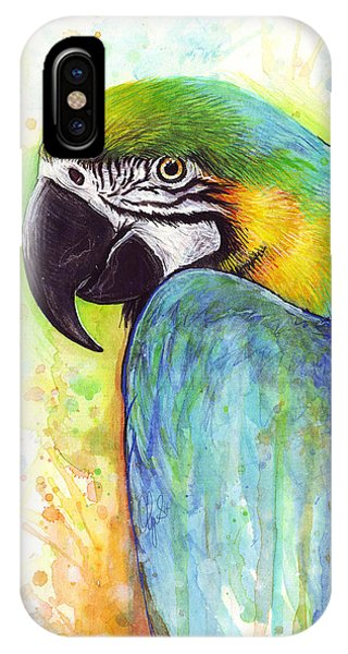 Macaw iPhone Case - Macaw Painting by Olga Shvartsur
