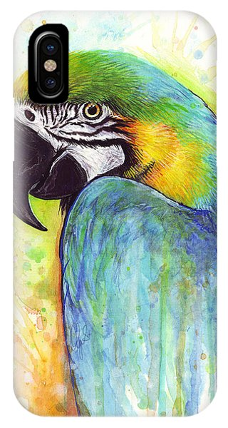 Mixed-media iPhone Case - Macaw Painting by Olga Shvartsur