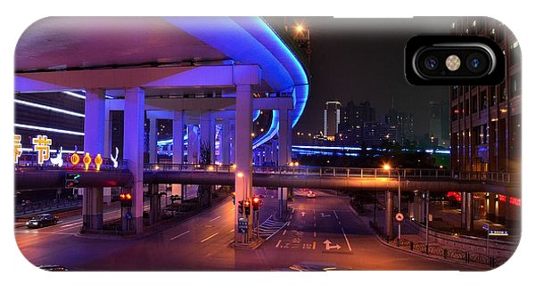 Colorful Night Traffic Scene In Shanghai China IPhone Case