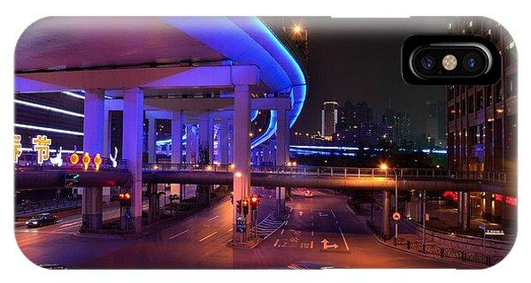Colorful Night Traffic Scene In Shanghai China IPhone Case