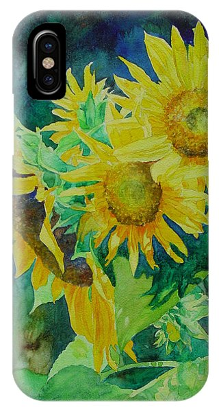 Colorful Original Sunflowers Flower Garden Art Artist K. Joann Russell IPhone Case